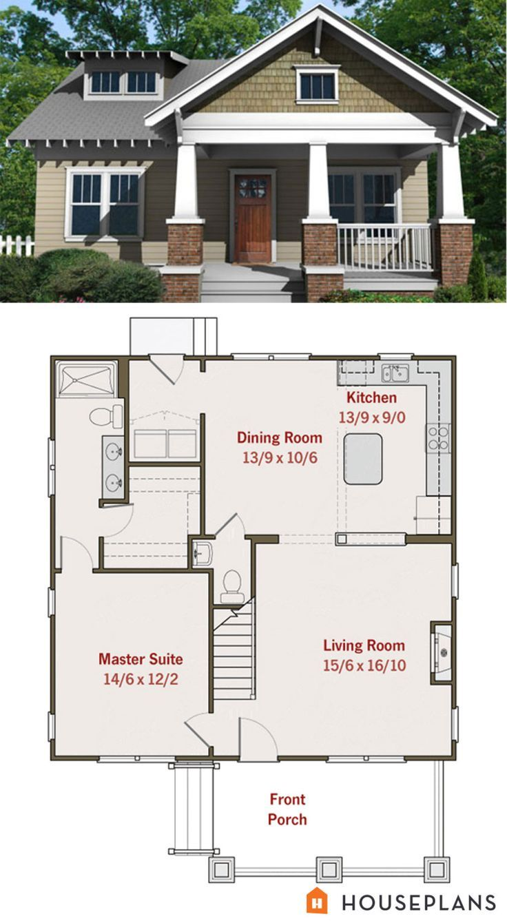 Small craftsman bungalow floor plan and elevation Craftsman
