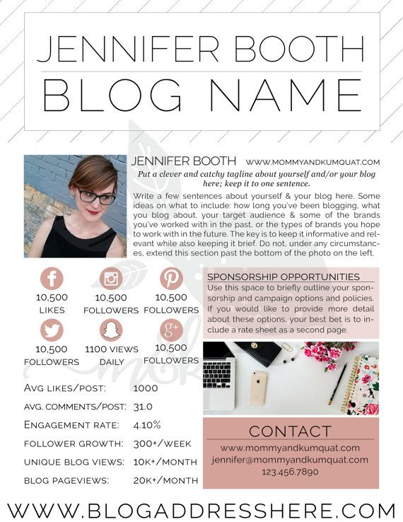 Stand out from the blogging crowd with a gorgeous media kit! Use - rate sheet template