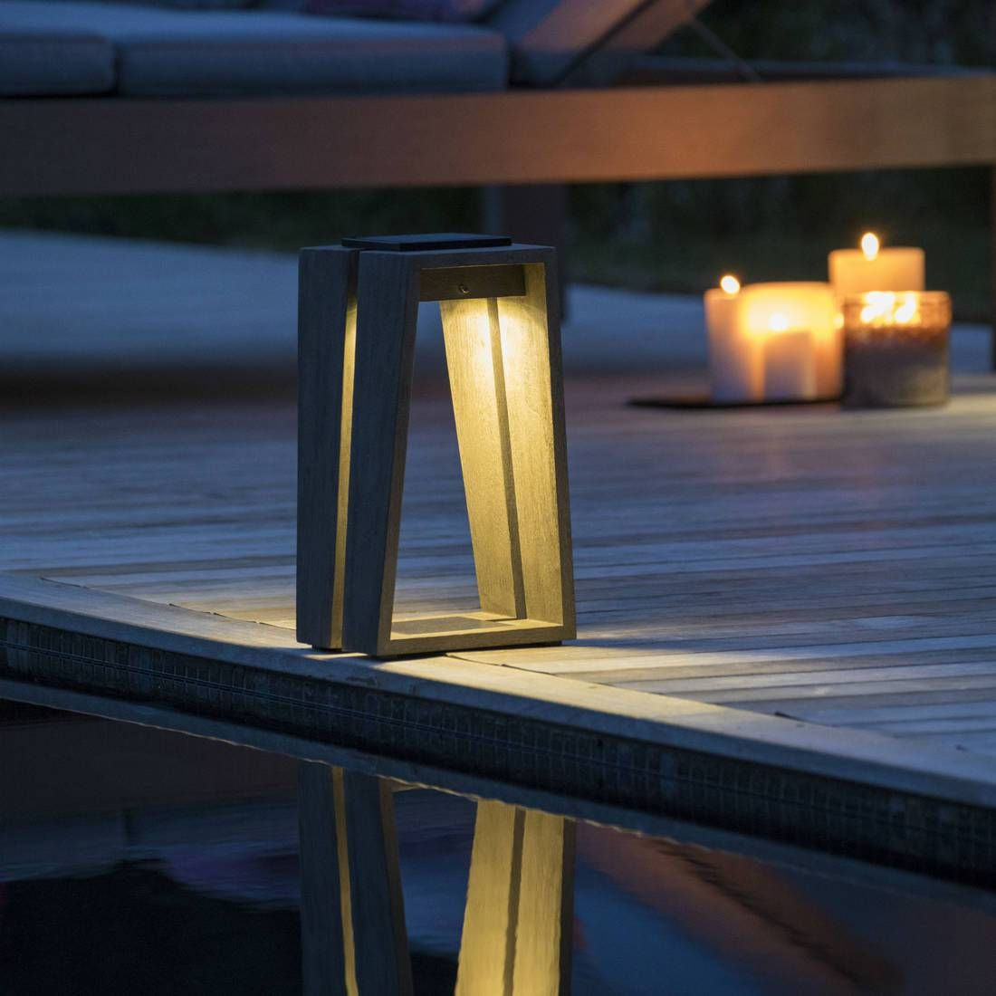 Lanterne d extérieur LED rechargeable & solaire Teck Gris H39cm