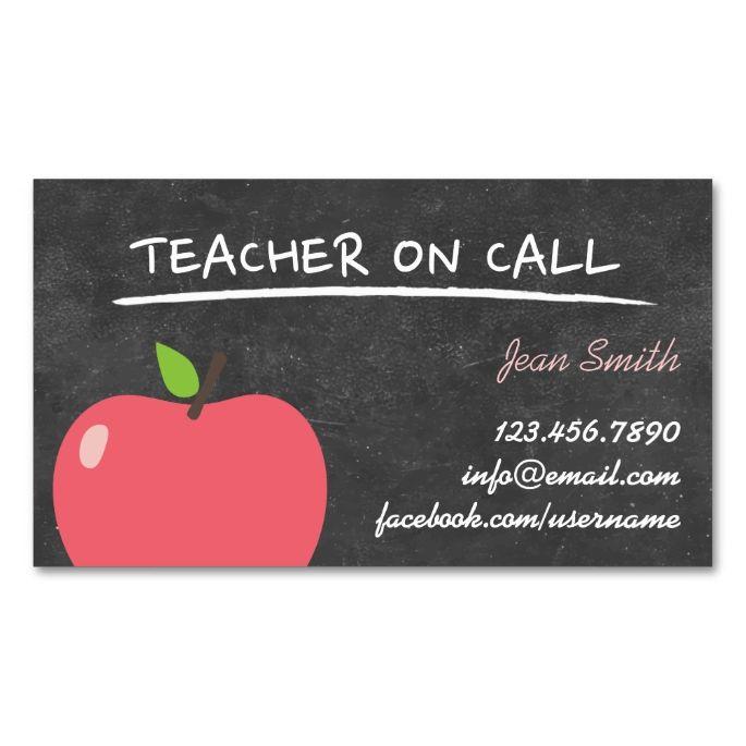 Teacher On Call Cute Apple Chalkboard Business Card Zazzle Com In 2021 Substitute Teacher Business Cards Teacher Business Cards Teacher Cards
