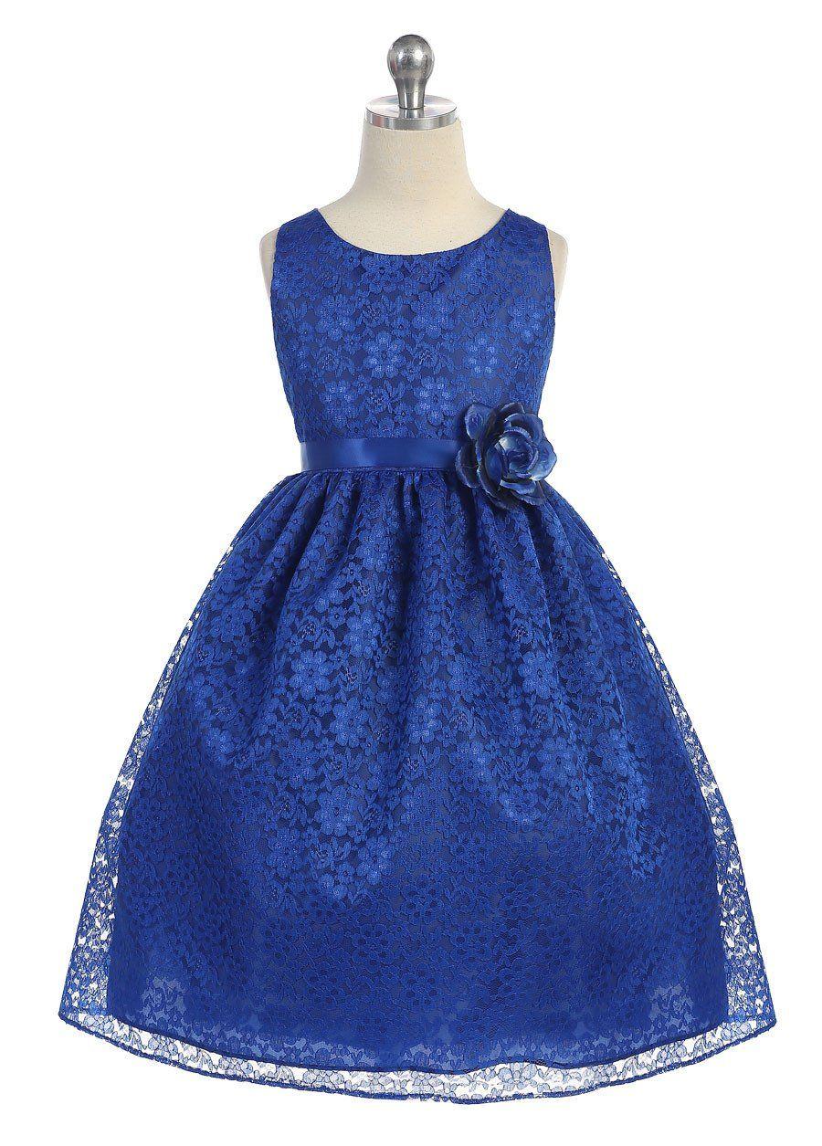 Girls royal blue floral lace dress by calla d floral lace dress