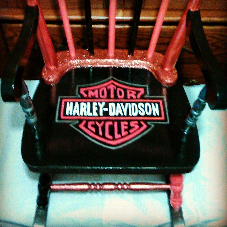 Hand Painted Harley Davidson Rocking Chair