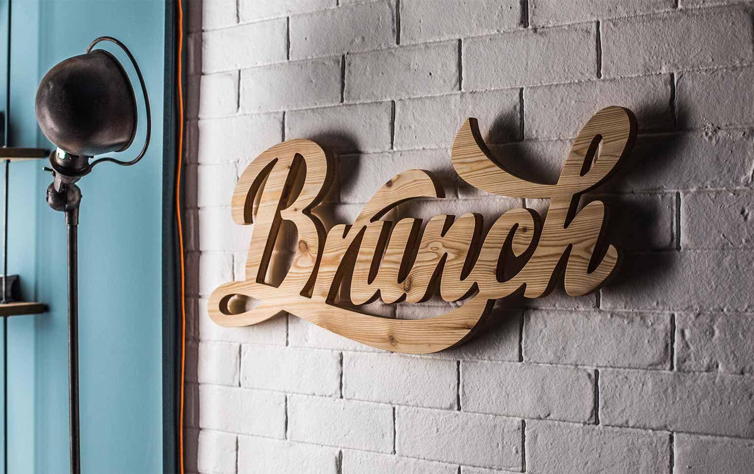 Objet déco Wood signage, Shop sign design, Signage design