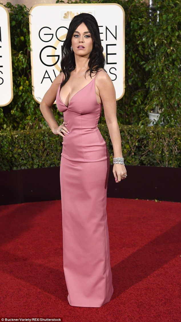 Katy Perry s plunging pink gown as she jokes about her 'globes ...