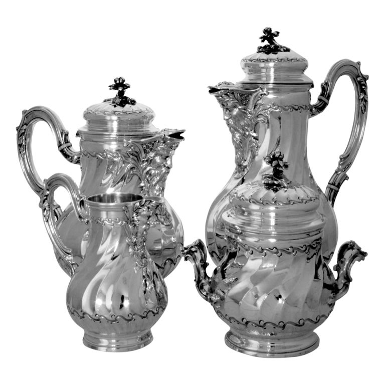 PUIFORCAT Fabulous French All Sterling Silver Tea & Coffee Service 4