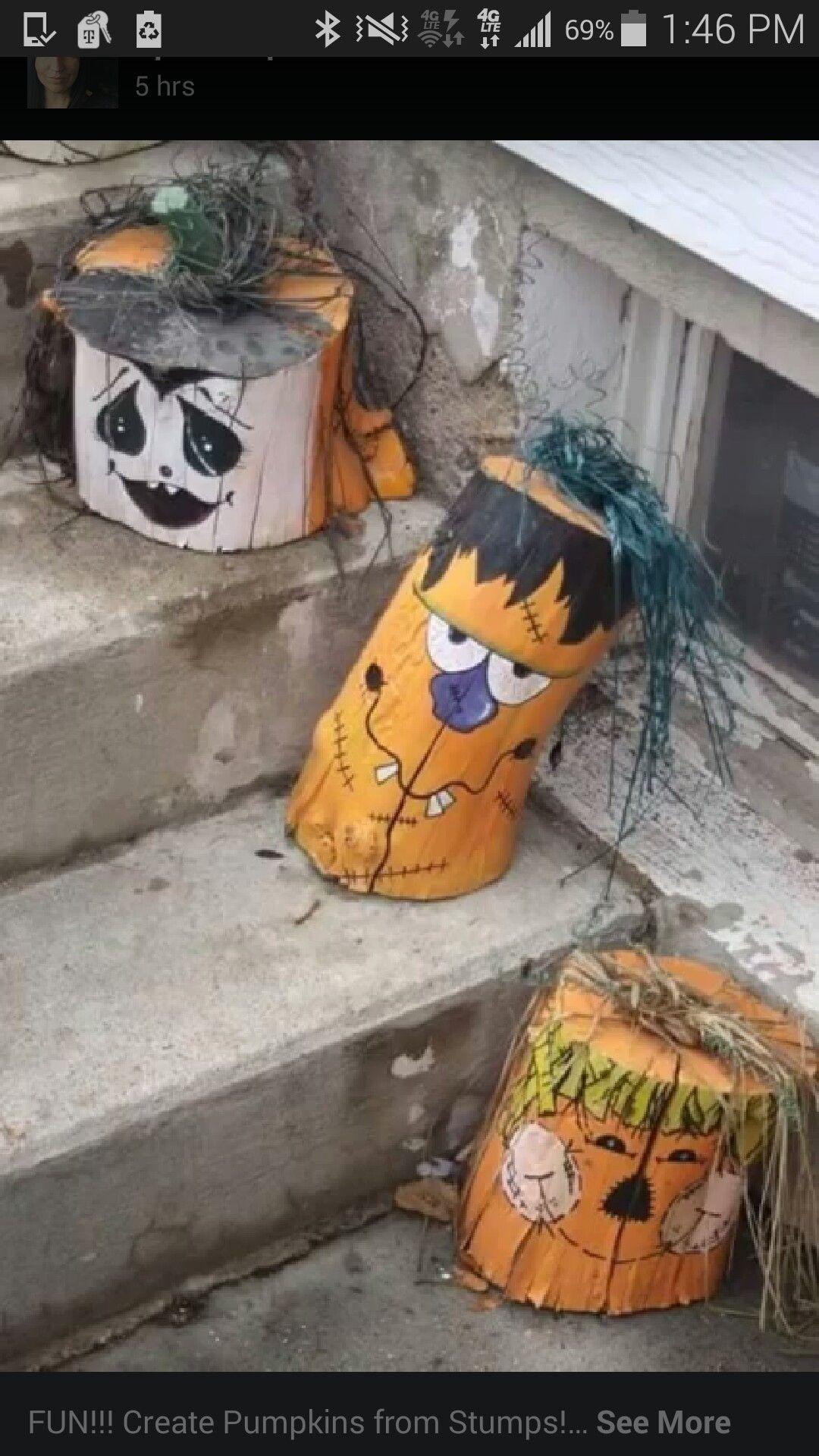 Painted Stumps Halloween Ideas Pinterest Craft, Harvest party - cool homemade halloween decorations