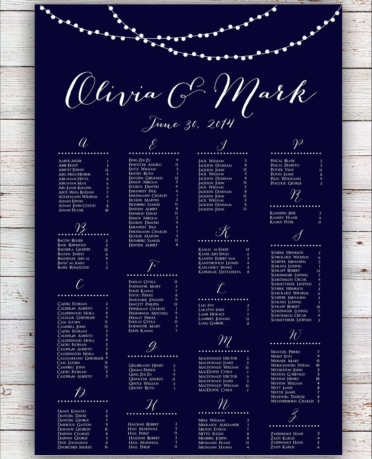 Wedding Seating Chart   RUSH SERVICE   String Lights Navy Wedding Seating  Chart Poster   Digital Printable File HBC3