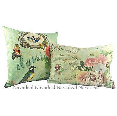 2pcs Vintage Green Rose Garden Bird Decorative Lumbar Pillow Case Cushion Covers