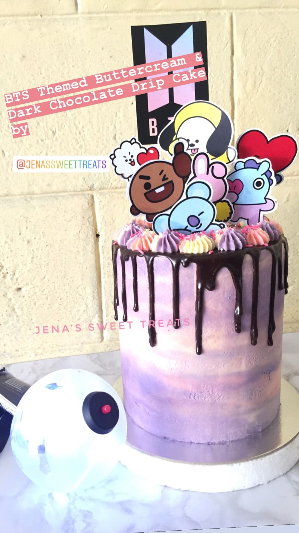 Bts Bt21 Themed Buttercream Chocolate Drip Cake Bts Cake Bts Birthdays Cake