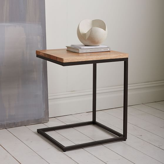 New Box Frame C Base Side Table Rustic Mango Antique Bronze Beautiful - Cool side table with drawer Unique