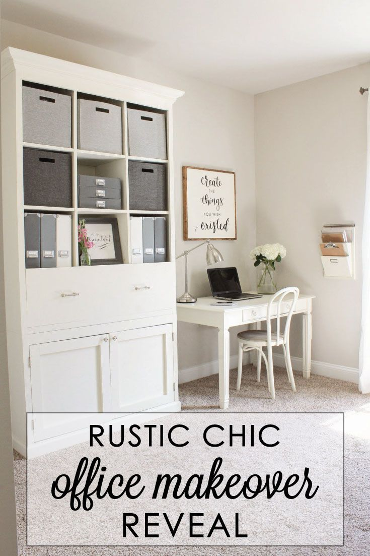 Rustic Chic Home Office Reveal | Rustic chic, Office makeover and ...