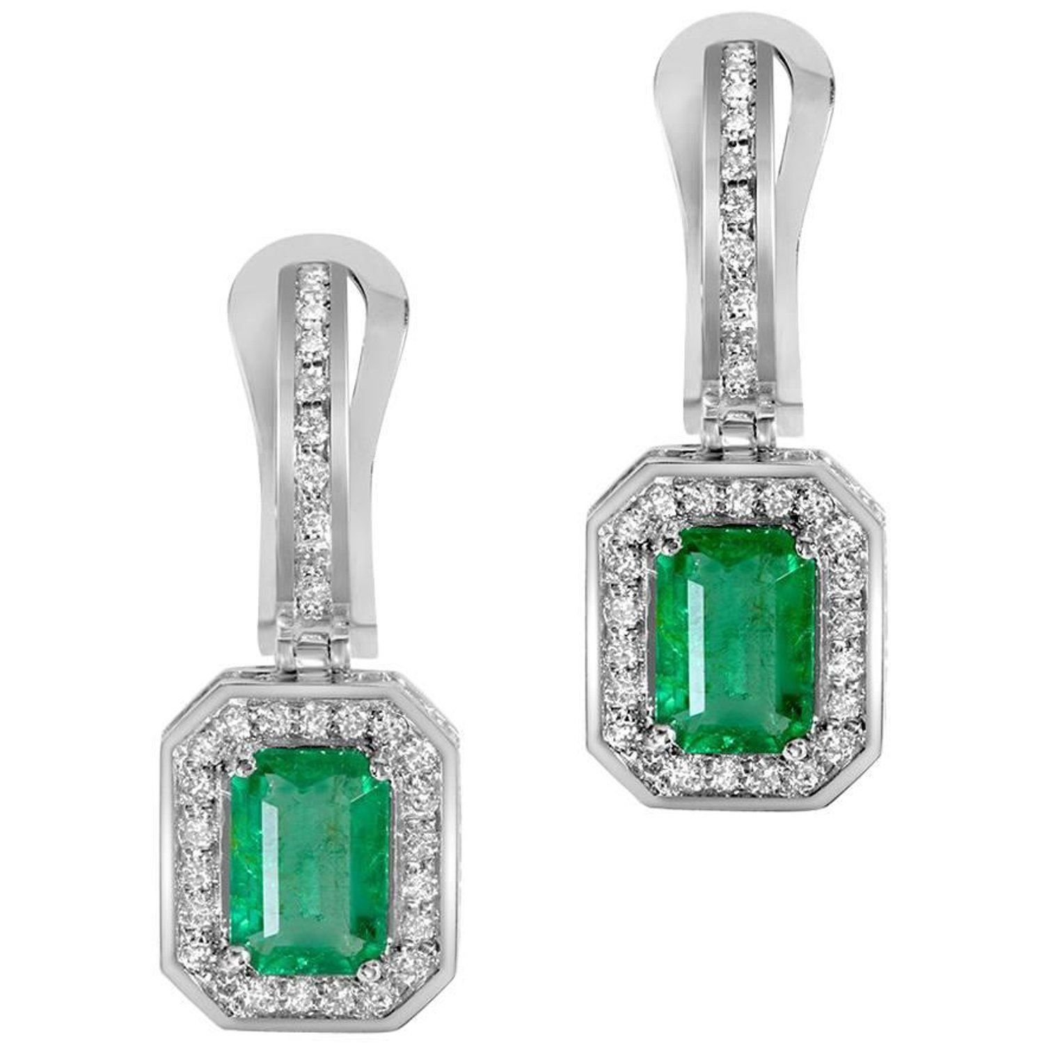 Emerald Diamond Drop Dangle White Gold Earrings e of a Kind