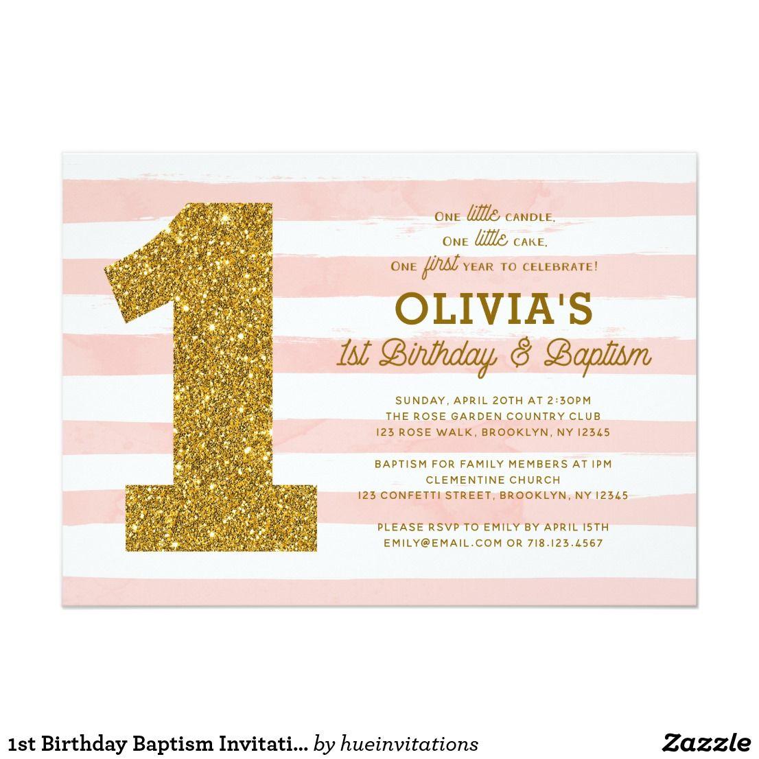 1st Birthday Baptism Invitation Pink White Gold   { Happy Birthday ...