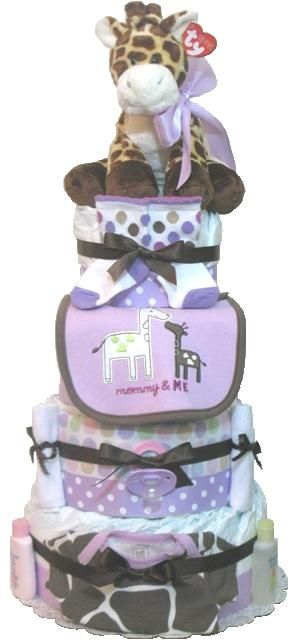 This adorable giraffe diaper cake is infused with one of my favorite colors: lavender! I had to tie the colors in with polka dots and bows for a really feminine diaper cake.