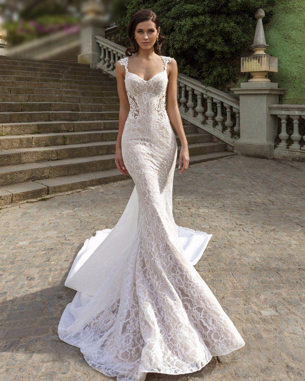Sweetheart Detachable Train Lace Mermaid Wedding Dresses
