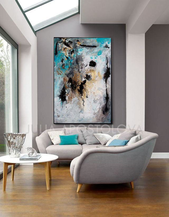 Rectangle Wall Art Gray Black Gold Teal Large Abstract Etsy In 2021 Elegant Living Room Design Interior Design Bedroom Small Leather Sofa Living Room