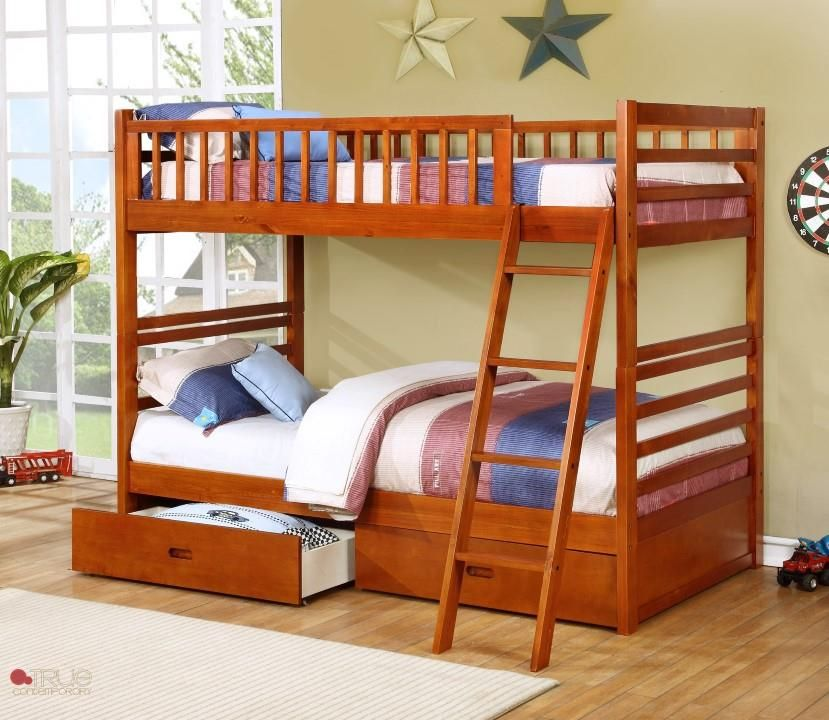 Oak Twin Over Twin Bunk Bed Fraser II Oak Twin over - solid bunk beds