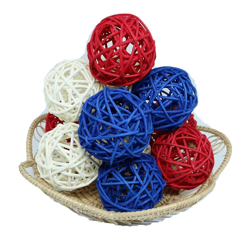 Thailands Gifts Small Blue White Red Rattan Ball Wicker Balls Diy Vase And Bowl Filler Ornament Decorative Decorative Spheres Diy Vase Christmas Decorations