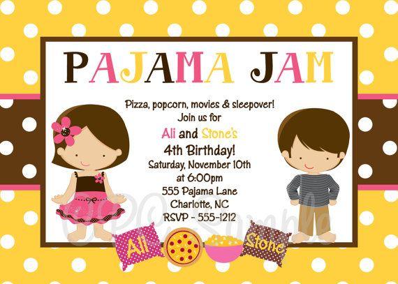 Pajama Party Birthday Invitations Boy Girl Twins