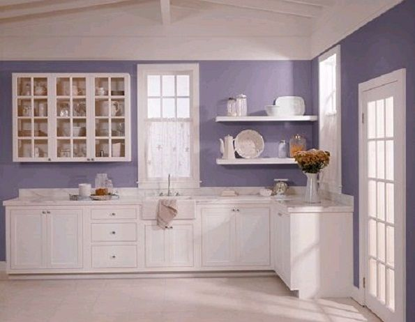 Lavender Kitchen With All White Cupboards Love It Purple
