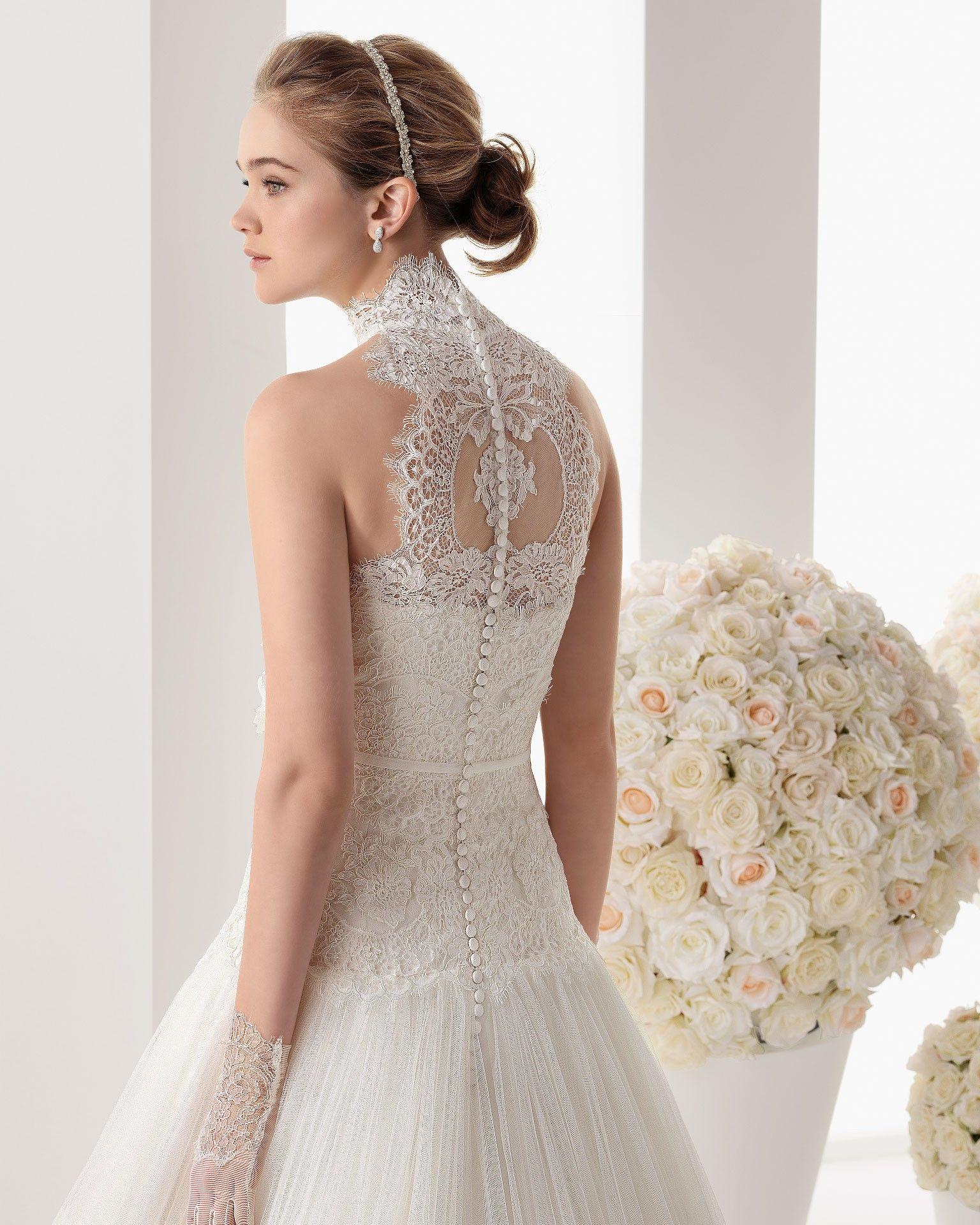 Fashion drop waist high neck tulle ivory sweep train wedding dress