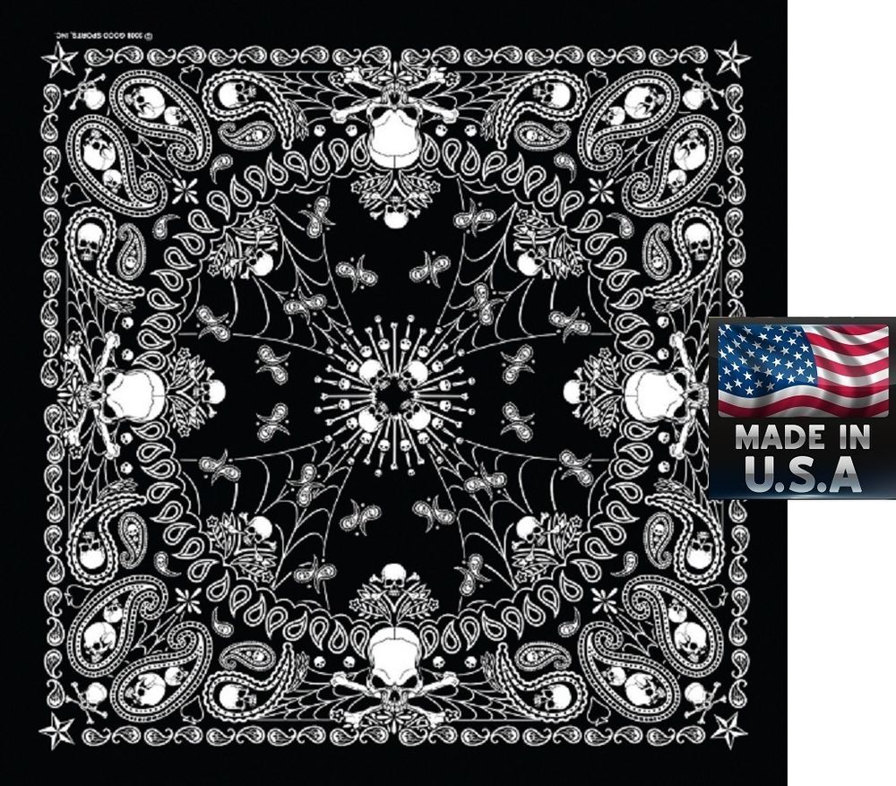 "BLACK PAISLEY Bandana Head Wrap Scarve Scarf BANDANNA 22/""Cotton  HANKY *USA MADE"