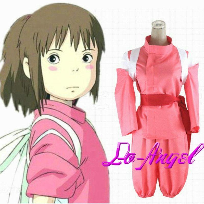Anime Spirited Away Ogino Chihiro Red Uniform Cosplay Party Costume Full Set