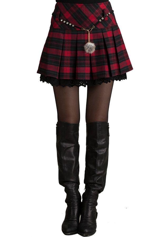 102725efaa Fashion New Style gonna pieghe scozzese vita alta, plaid High Waist ...