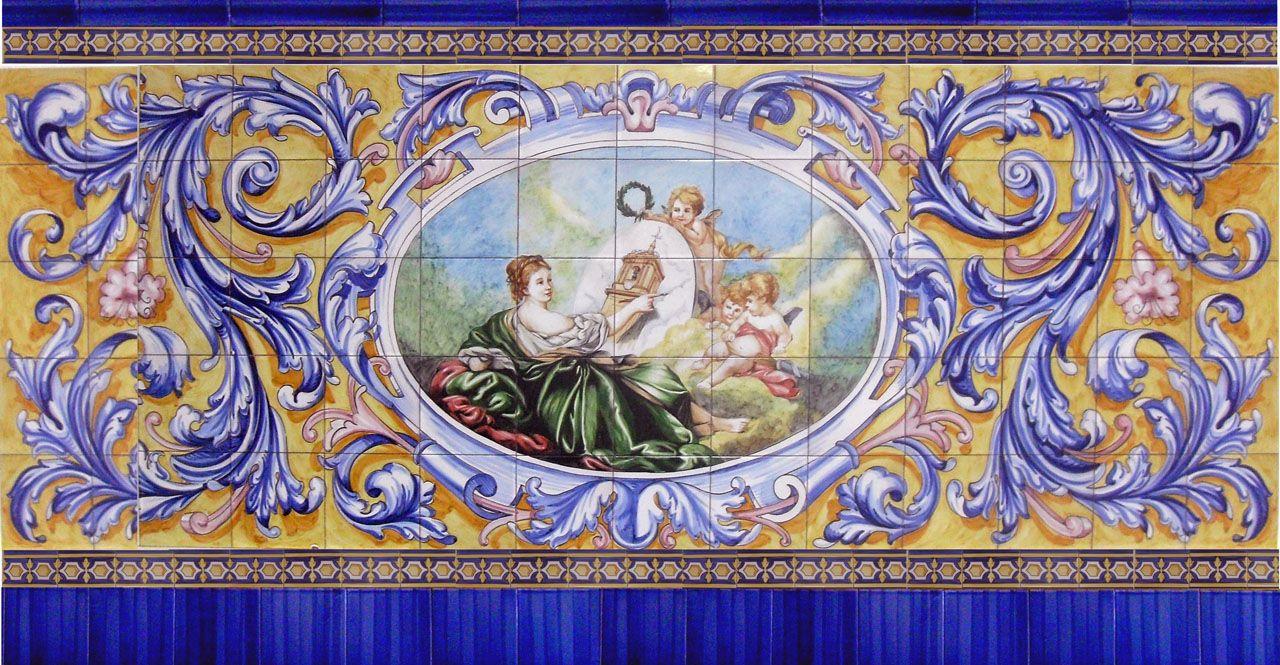 Azulejos pintados a mano para zocalo ceramicas artesur - Ceramica artistica sevillana ...