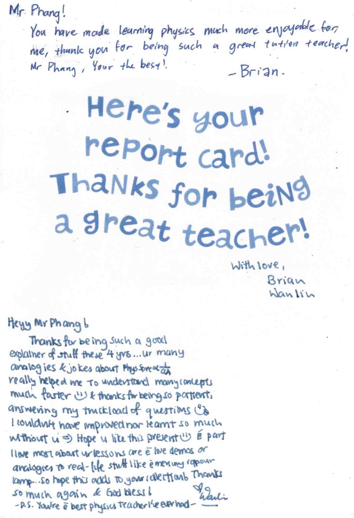Teacher S Day Cards The 2013 Report Card Thanks For Being A