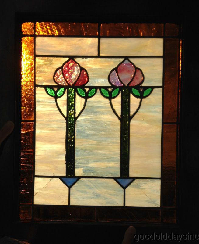 Small Antique Chicago Bungalow Stained Leaded Gl Window 2 Flower 25