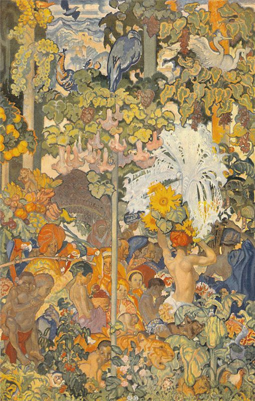 Swansea panel, South-East Asia, 1926-1933, oil and tempera, 600x390cm, (City and County of Swansea)