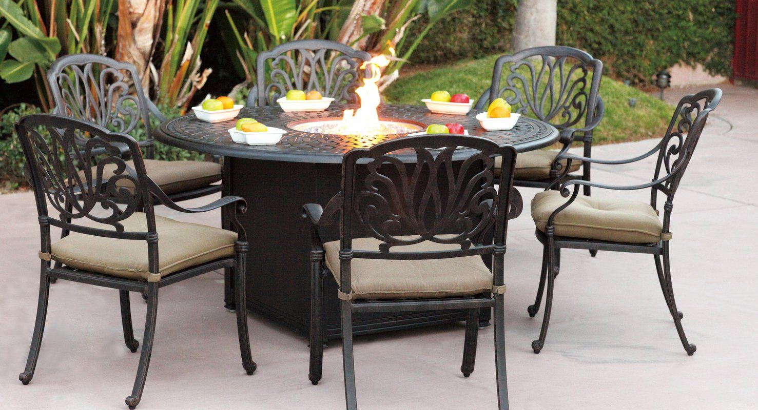 Lebanon 7 Piece Dining Set With Cushions Fire Pit Dining Set