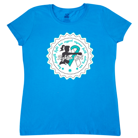 Cervical Cancer Fighter Girl Women's T-Shirt featuring a silhouette female figure in a fighter position ready to take on the fight against cancer with an empowering words of Love, Strength, Fight, Empower, Faith, Victory and Win Cervical Cancer Fighter Girl <ink:product-name> featuring a silhouette female figure in a fighter position ready to take on the fight against cancer with an empowering words of Love, Strength, Fight, Empower, Faith, Victory and Win by Store.Gifts4awareness.com.
