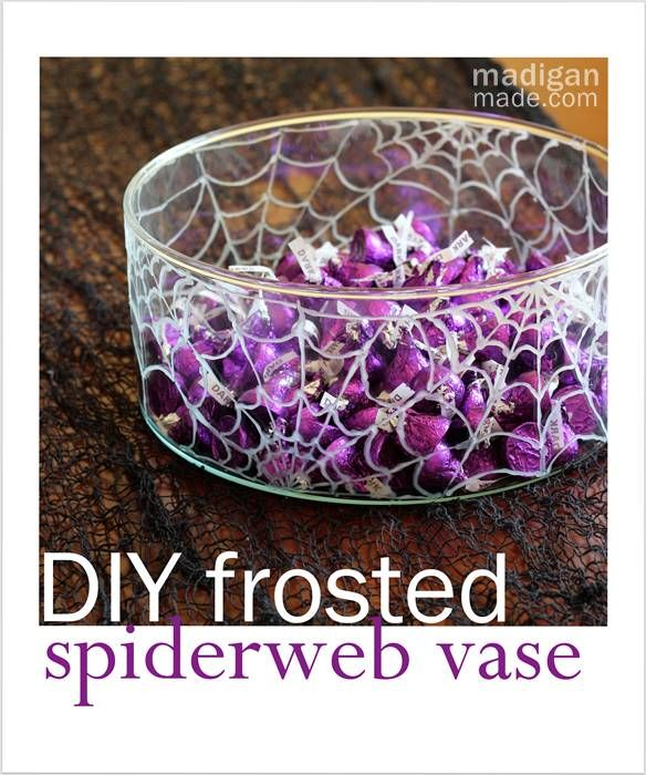 Paint a vase with frosted glass paint for a spiderweb Halloween candy bowl