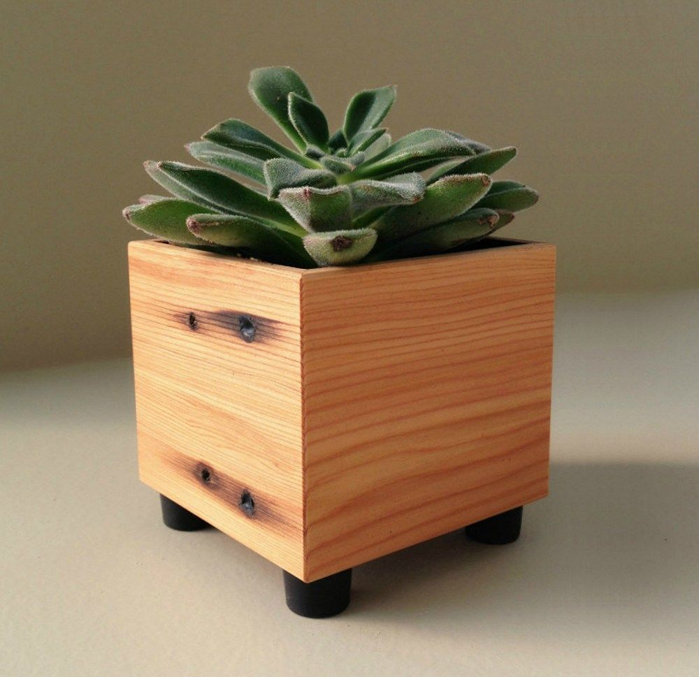 Small Wood Planter, Succulent Planter, Reclaimed Wood | Andrews-Reclaimed - Earth Friendly on ArtFire