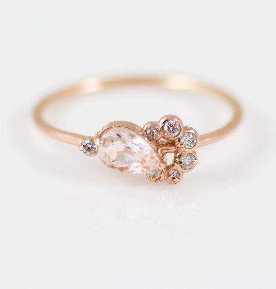 Shortcake Ring Pear Morganite Yellow Gold Ring Morganite and