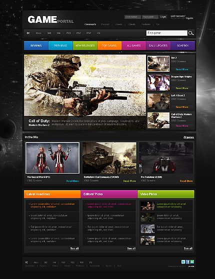 Gaming Website Templates Pinterest Template - Gaming website template
