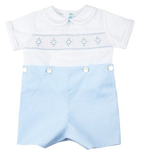aec755b0554 Feltman Brothers Blue White Smocked Bobbie Suit Boys Christening Outfit 6M  -- To view further