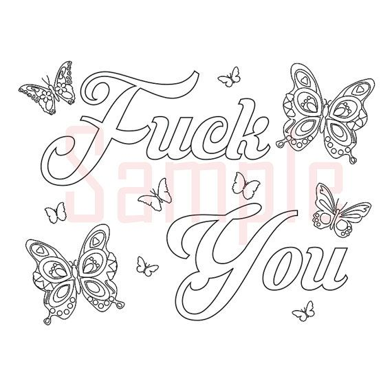 Sweary Coloring Page Fck You-1 Swearing Coloring by ...