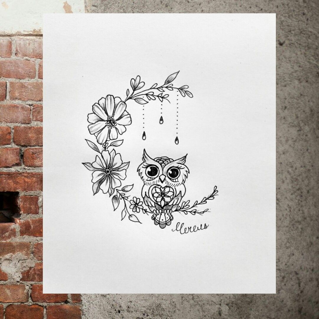 i love this flower moon tattoo design pinterest owl