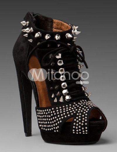 b32d6b59d702 Black Punk Studded Peep Toe Sheepskin Suede High Heel Booties - Milanoo.com