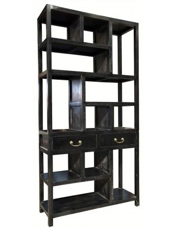 Antique Style Bookcase Ming Bookcase Hand Rubbed Black Bookcases Accent Furniture Living Roo Industrial Style Living Room Bookcase Mid Century Bookcase