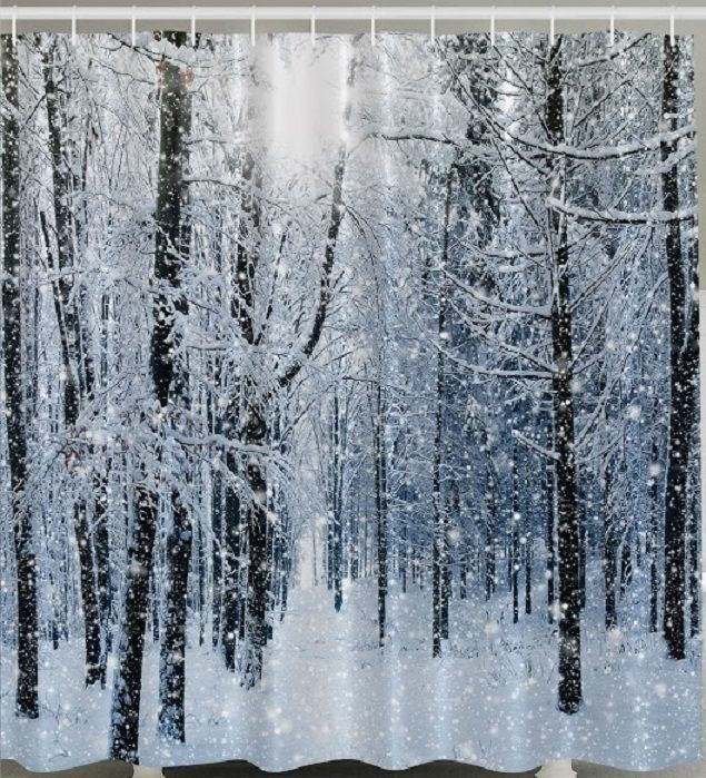 Snow Flake Forest Tree SHOWER CURTAIN White Winter Christmas ...