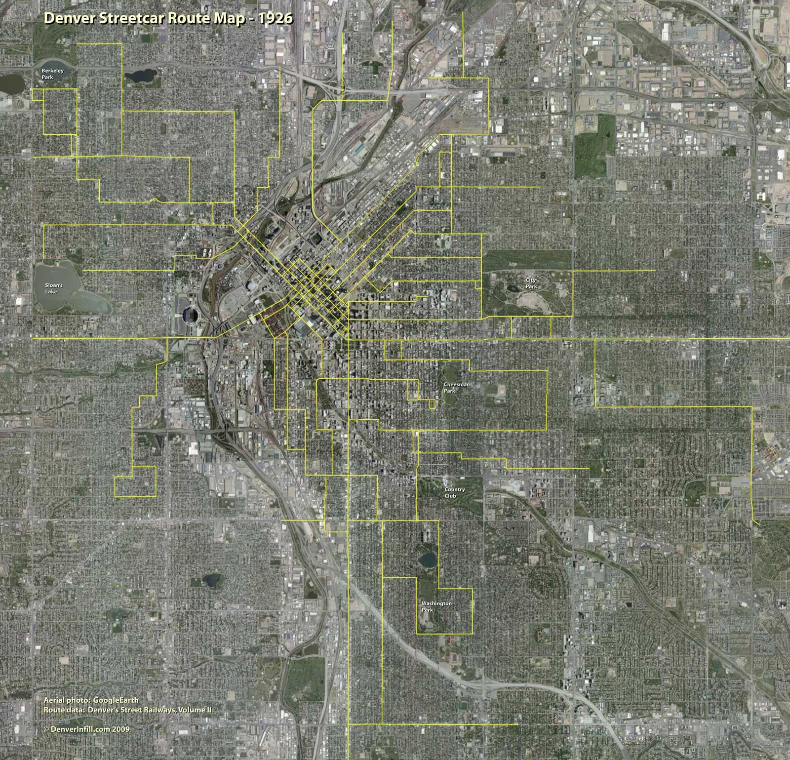 Denver Streetcar Map Overlaid On A Modern Aerial Photo All - Historical aerial maps