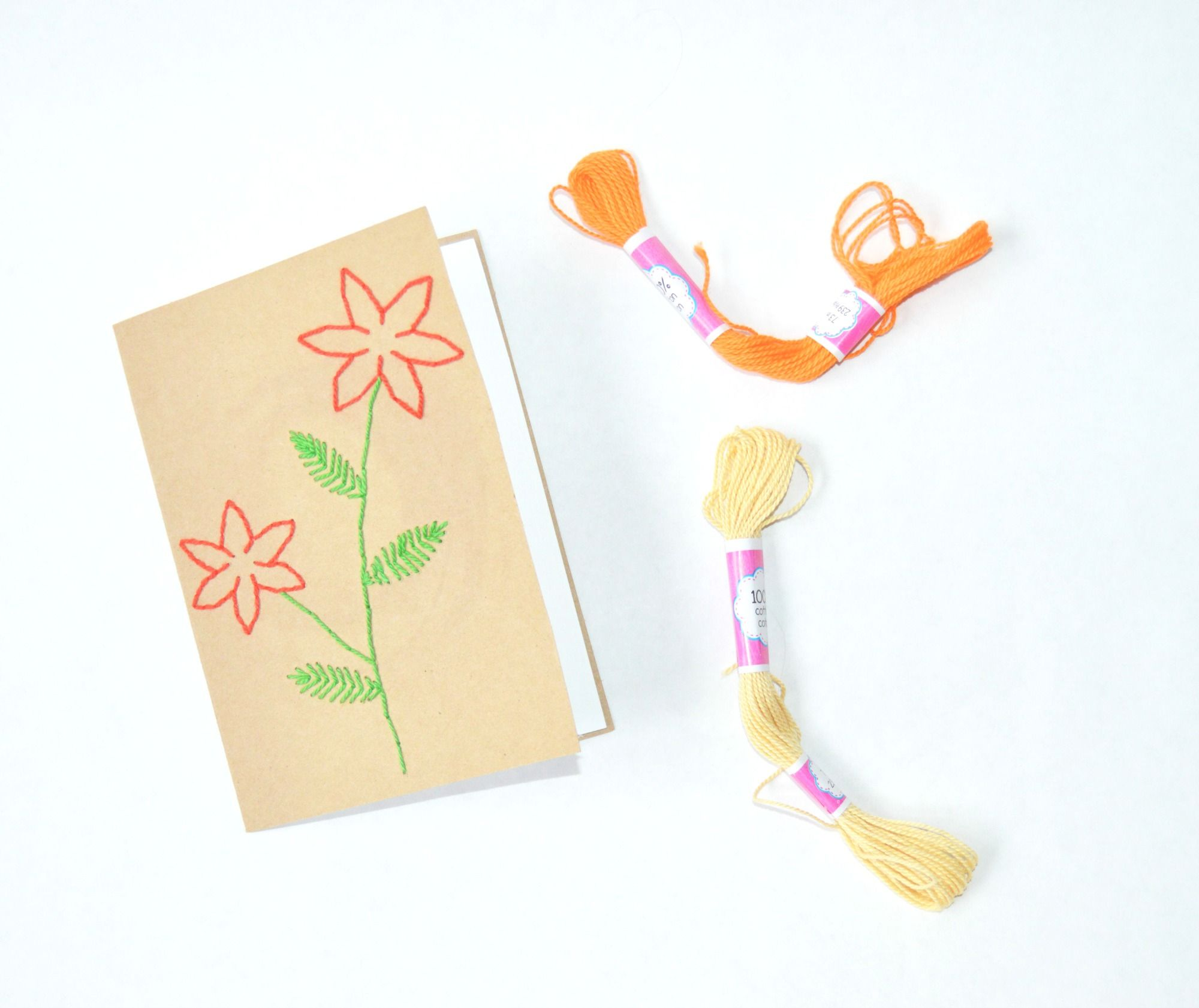 Create a simple embroidered flower card using this tutorial and