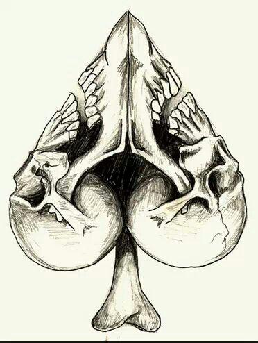 Skulls Spade Or Heart When Turned Upside Down Tattoo Art
