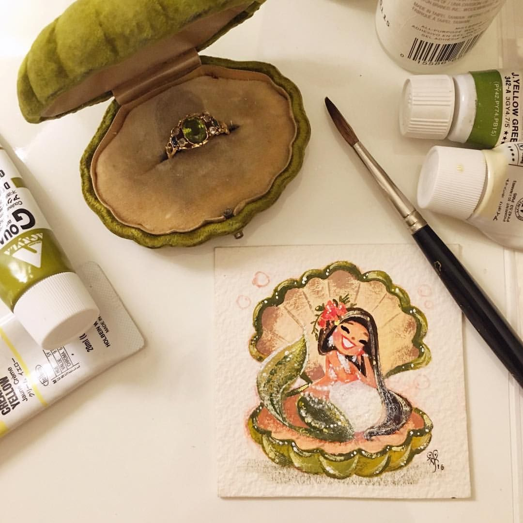 Pearly peridot! Here's my reference & finished painting. :) #gouache #MiniMermies #ShowMeYourRings (sold)