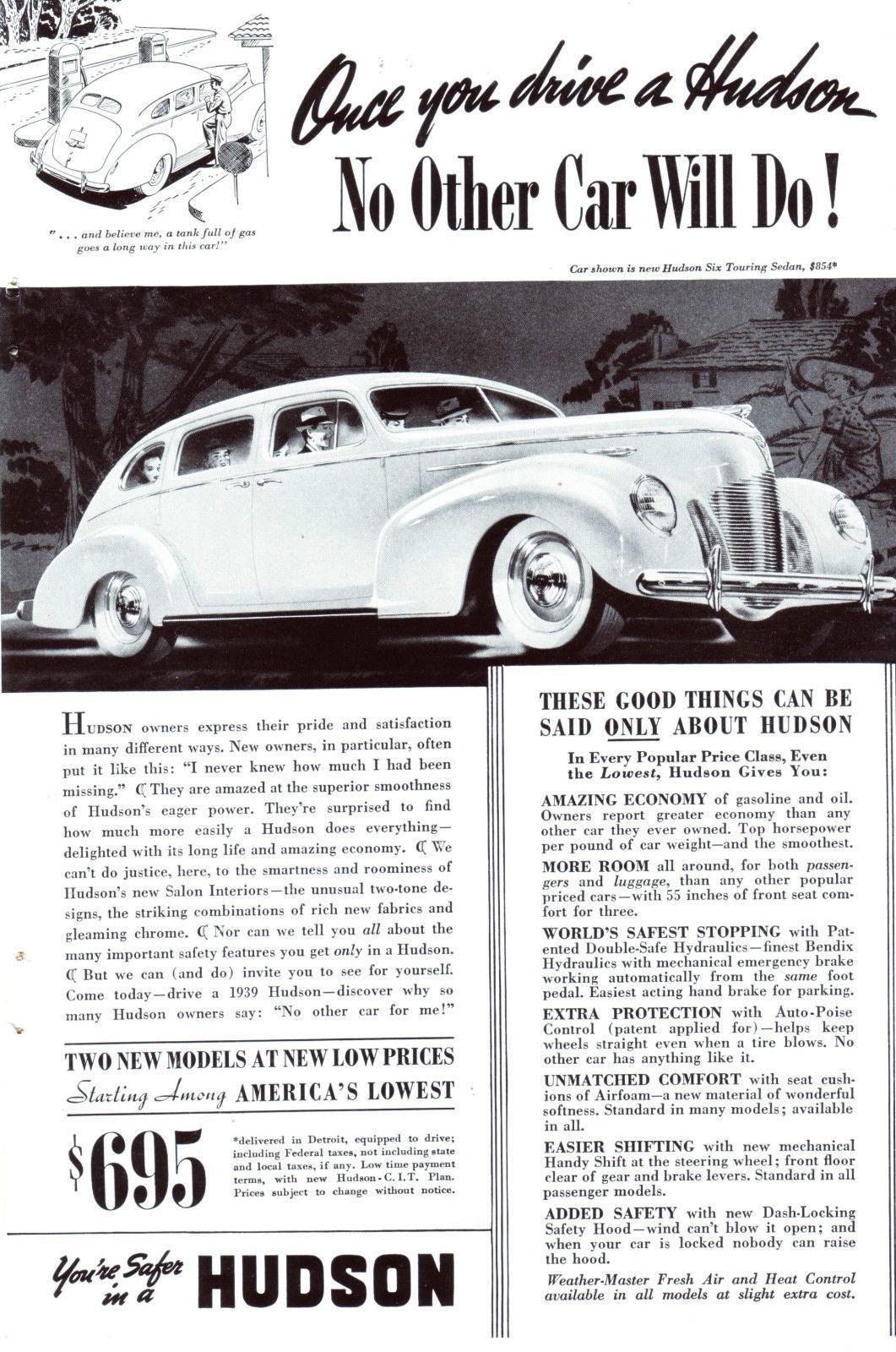 Original-Werbung/Anzeige (USA) 1939 - HUDSON CARS | eBay | Vintage ...
