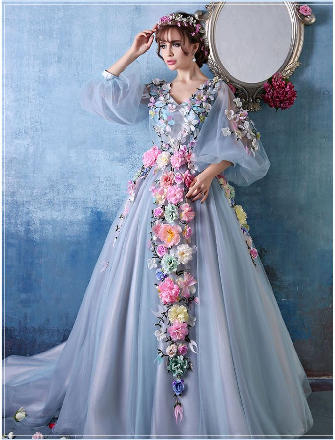 32616b68851b0 BISHOP SLEEVES FLORAL BALL GOWNSimple Floor Length Prom Dress ,Formal  Dresses,Wedding Party Dress